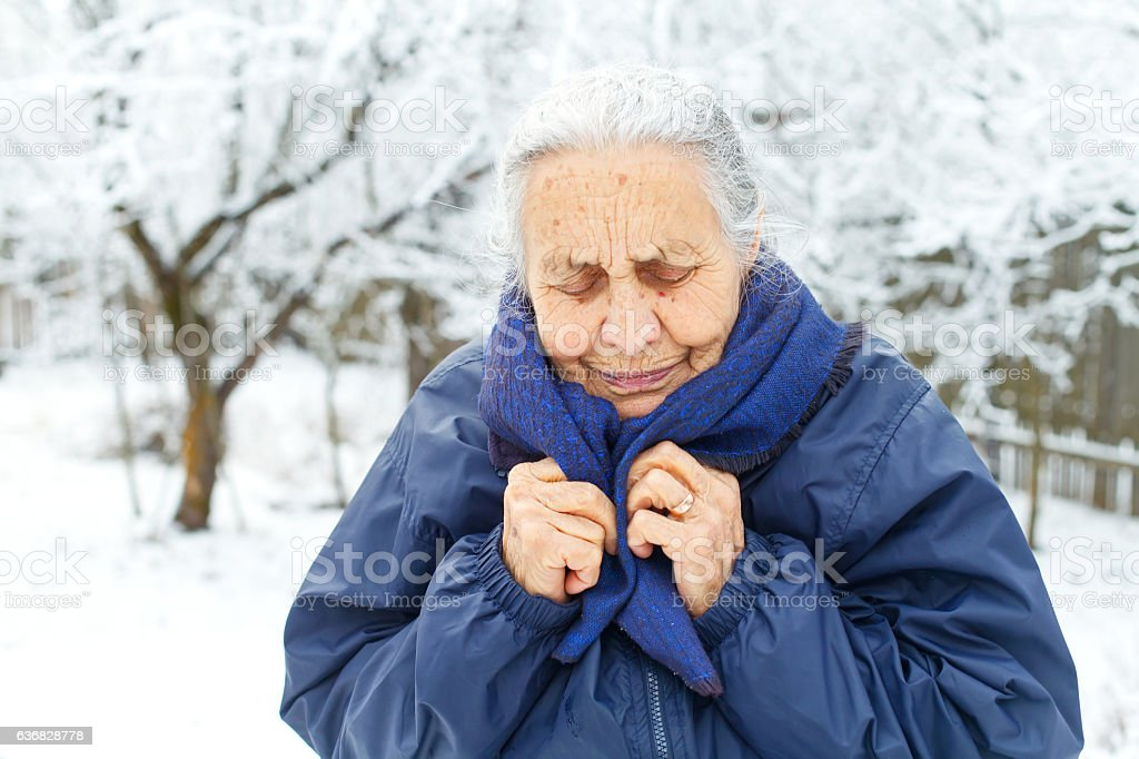 Lonely old lady stock photo