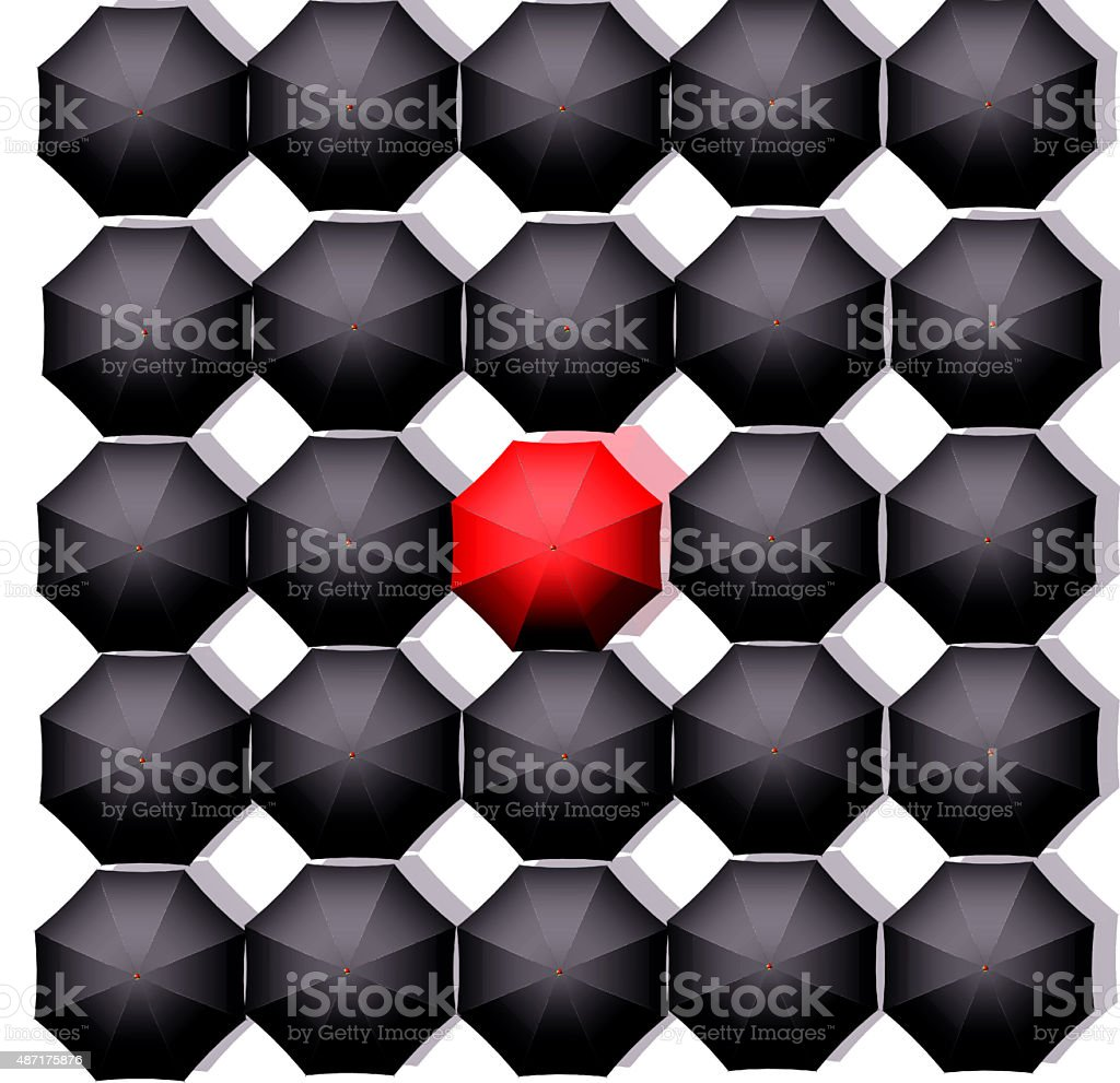 Lonely red umbrella vector art illustration