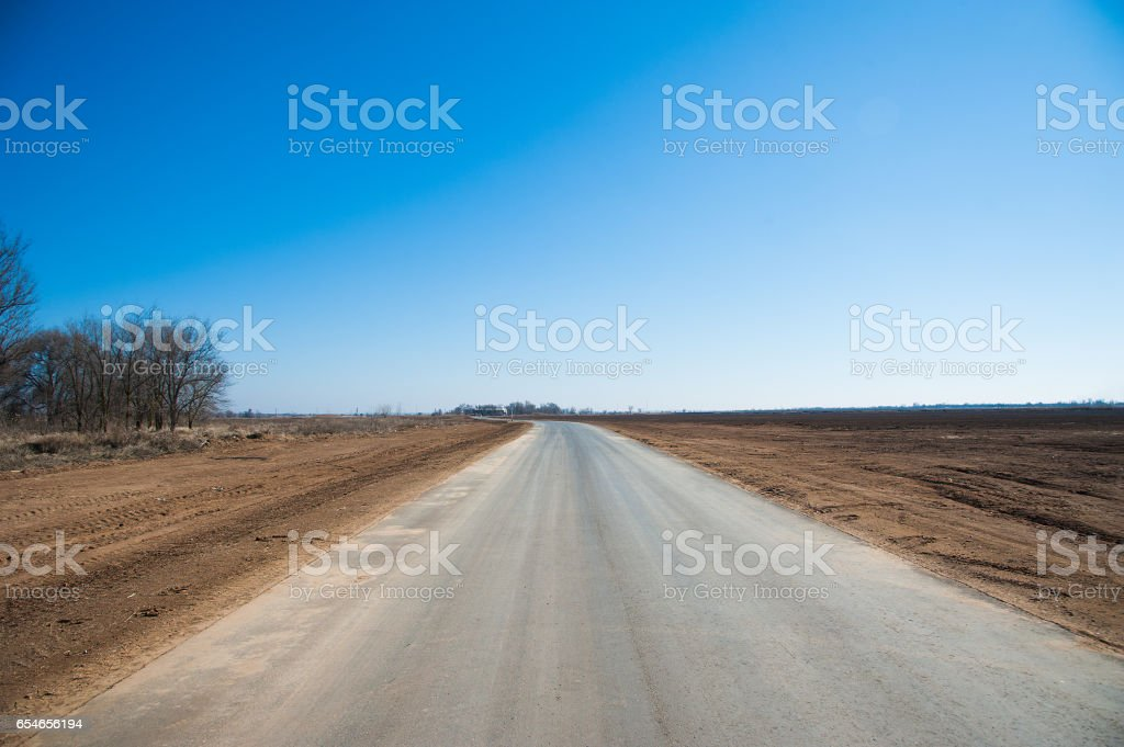 Lonely road in rural area stock photo