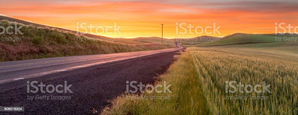 Lonely road sunrise stock photo
