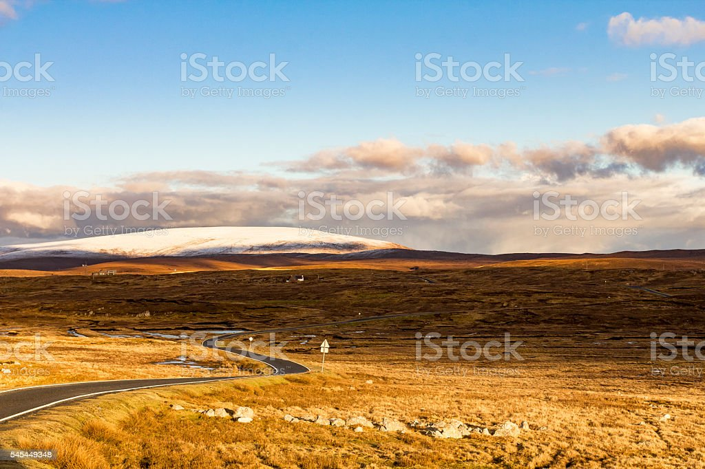 Lonely road through Shetland stock photo
