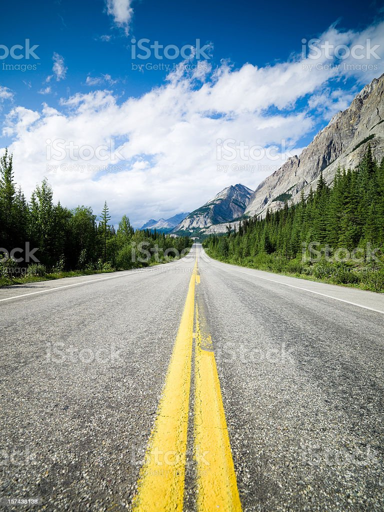 Lonely Road through the Rocky Mountains royalty-free stock photo