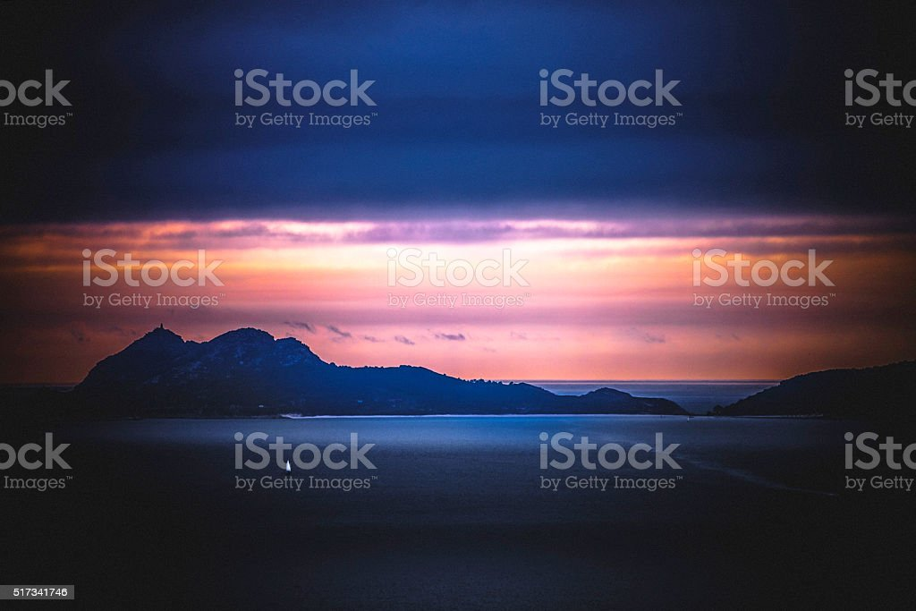 Lonely sailboat on the sea. stock photo