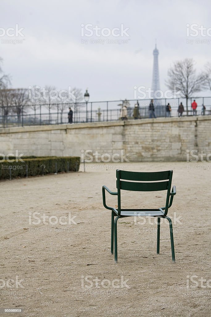 Lonely Seat in the Tuileries Garden Paris France royalty-free stock photo