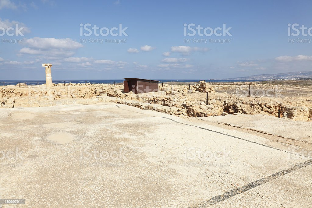 lonely single column at Paphos roman ancient  archaeological site Cyprus royalty-free stock photo