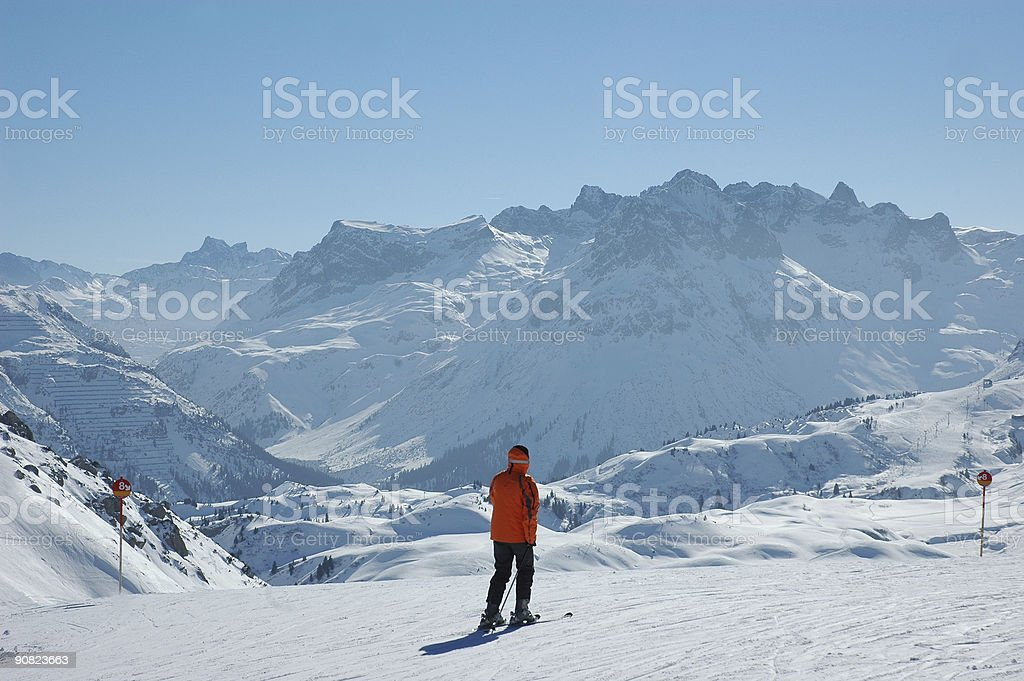 Lonely skier stock photo
