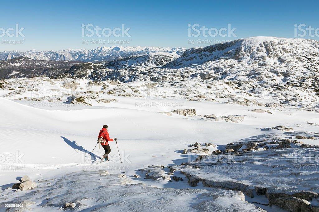 Lonely snowshoeing at Dachstein Mountains, Austria stock photo