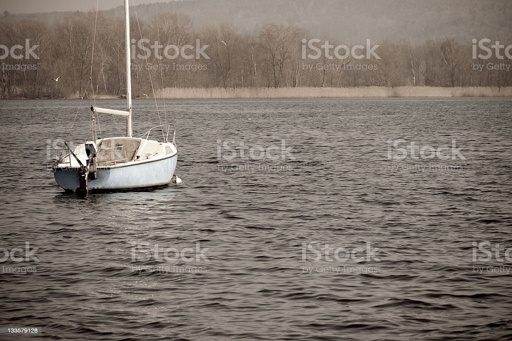 Lonely Standing Boat - Italian Lake District royalty-free stock photo