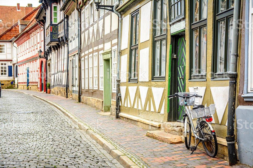 lonely street at goslar, germany stock photo