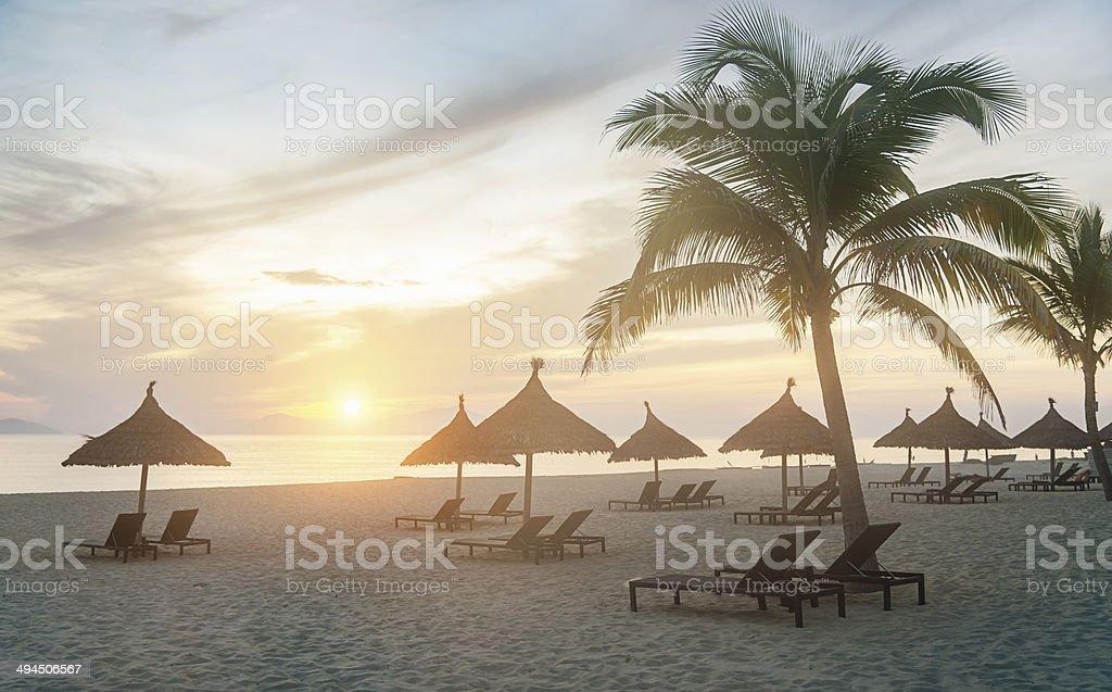 Lonely Sunset Beach stock photo