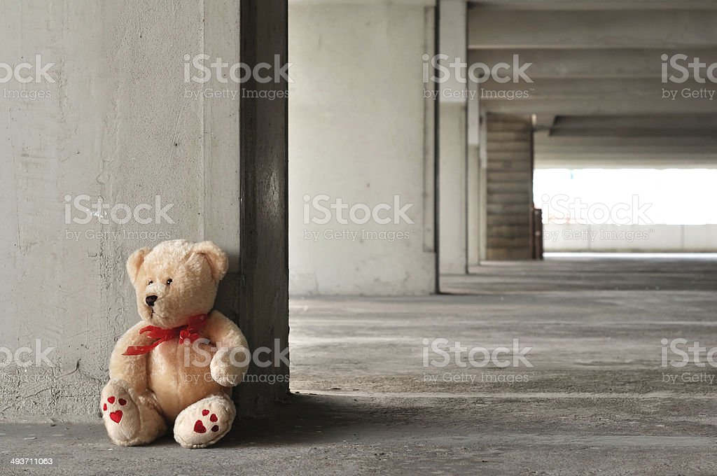 Lonely teddy bear stock photo