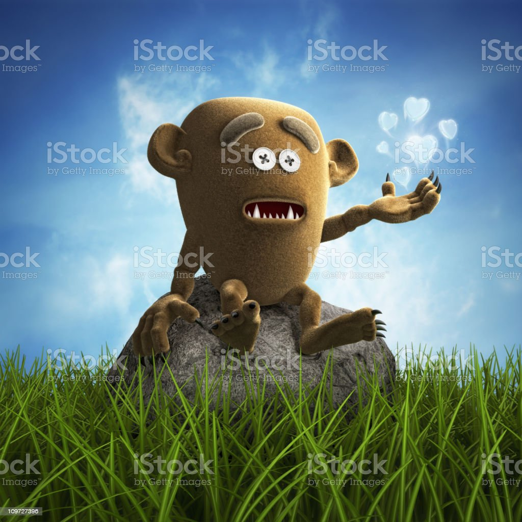 lonely teddy monster stock photo