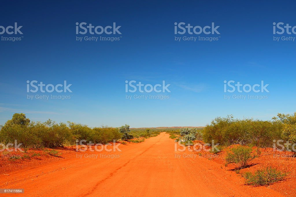 Lonely track in Australian bush stock photo