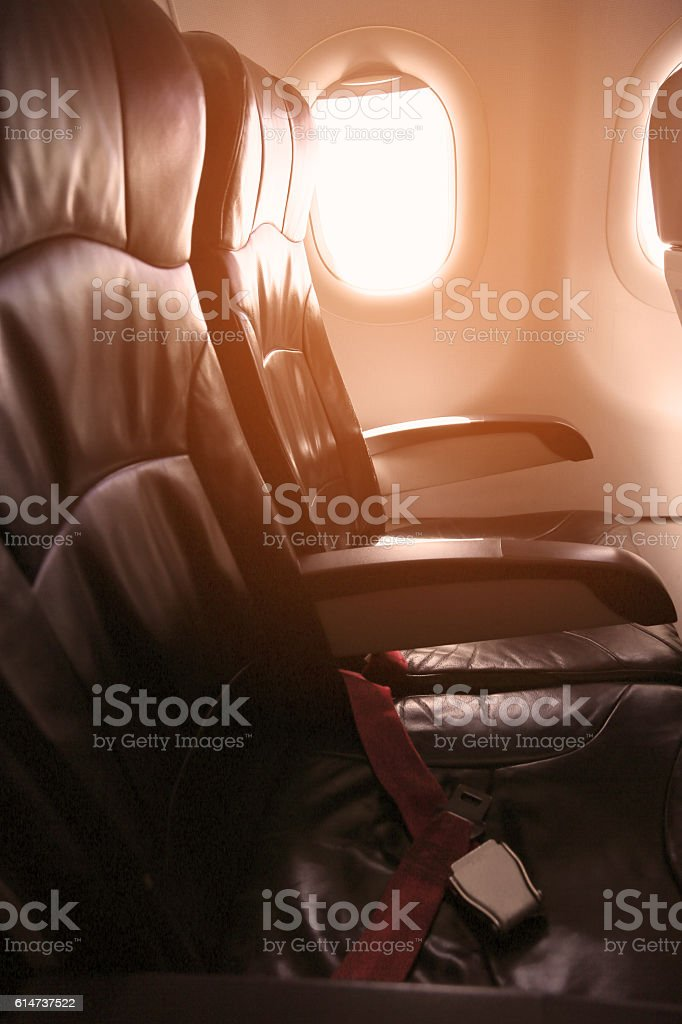 Lonely travel by airplane to somewhere, Journey for business stock photo