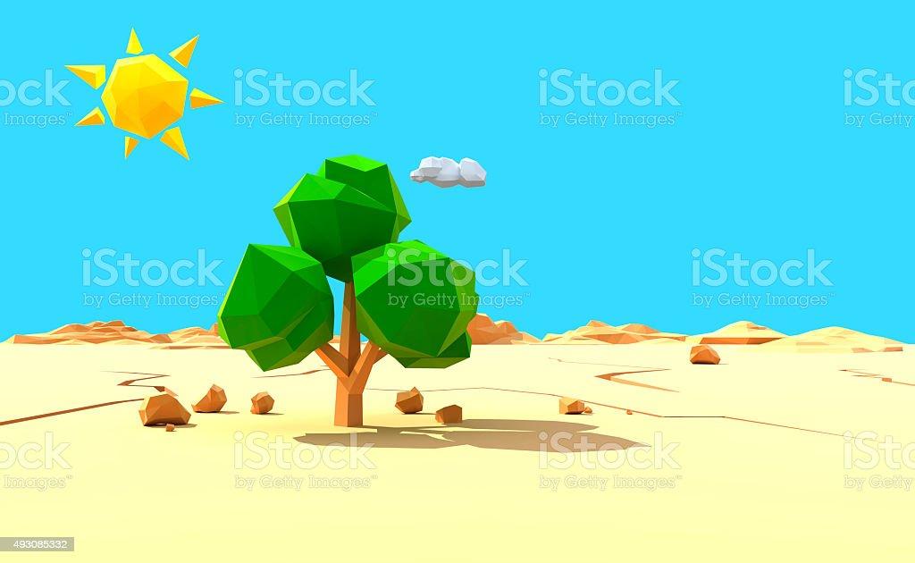 Lonely tree in desert stock photo
