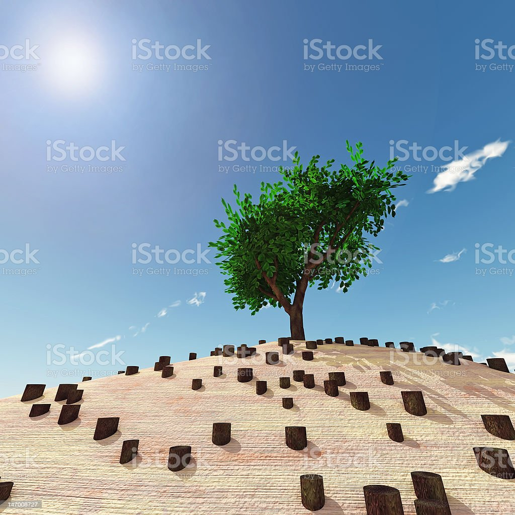 lonely tree in the middle of stumps royalty-free stock photo