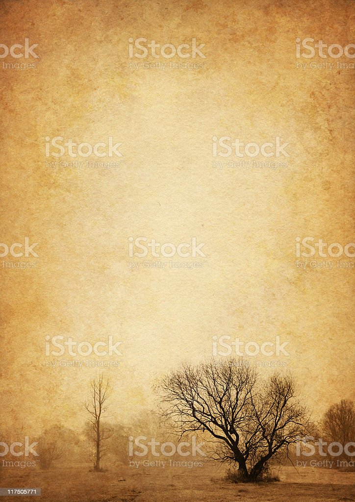 lonely tree on old paper stock photo