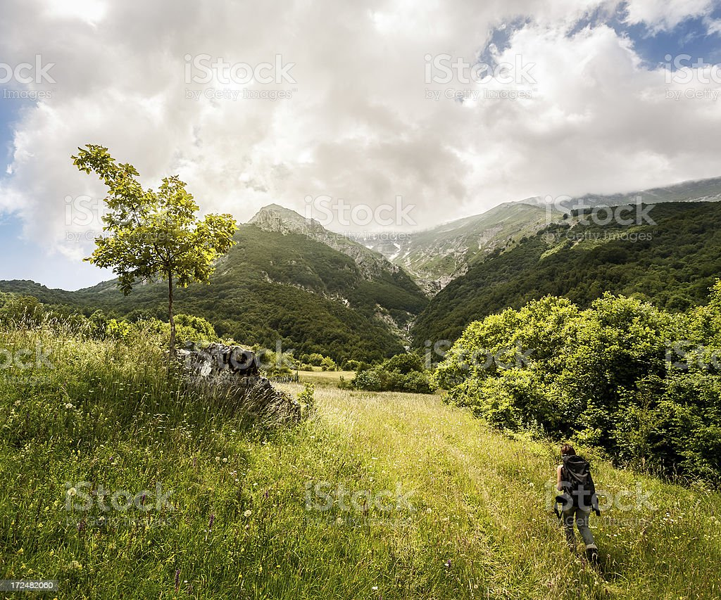 Lonely trekker girl in adventures royalty-free stock photo