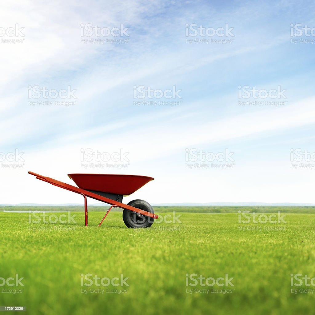 Lonely wheelbarrow in the meadow stock photo