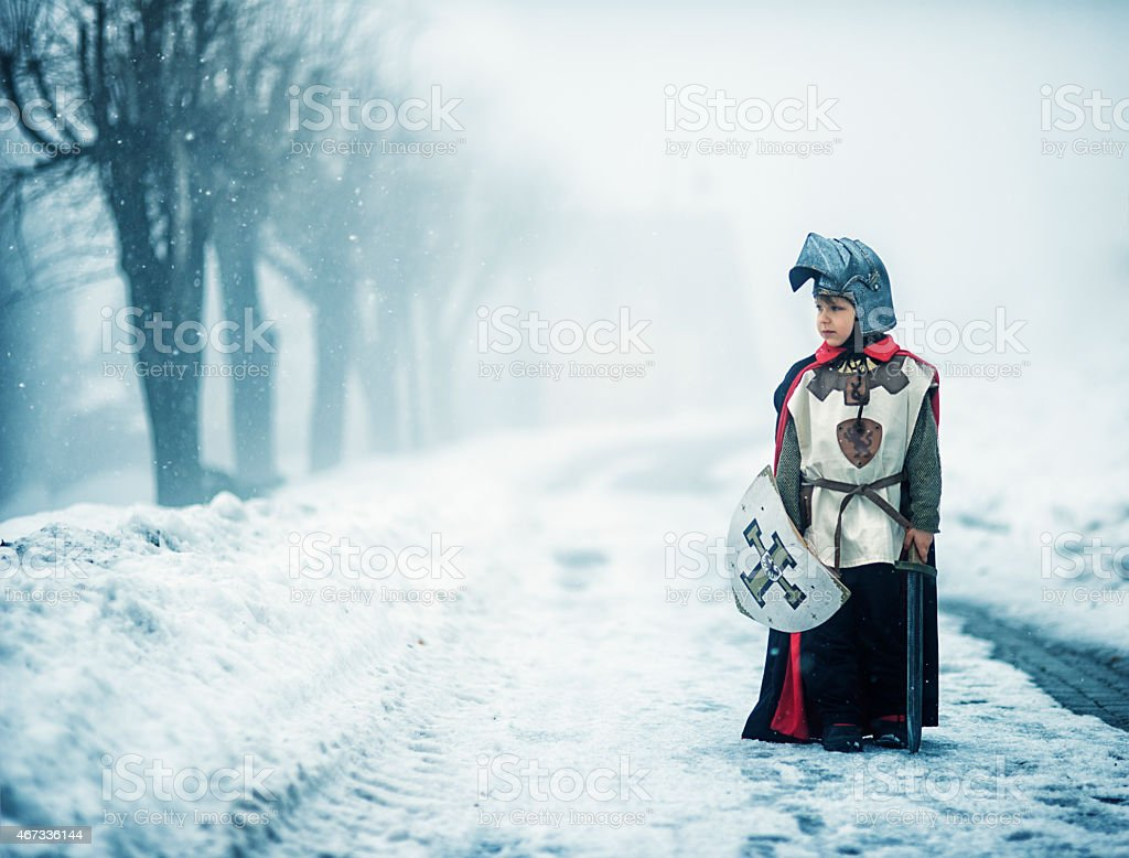 Lonely winter knight stock photo