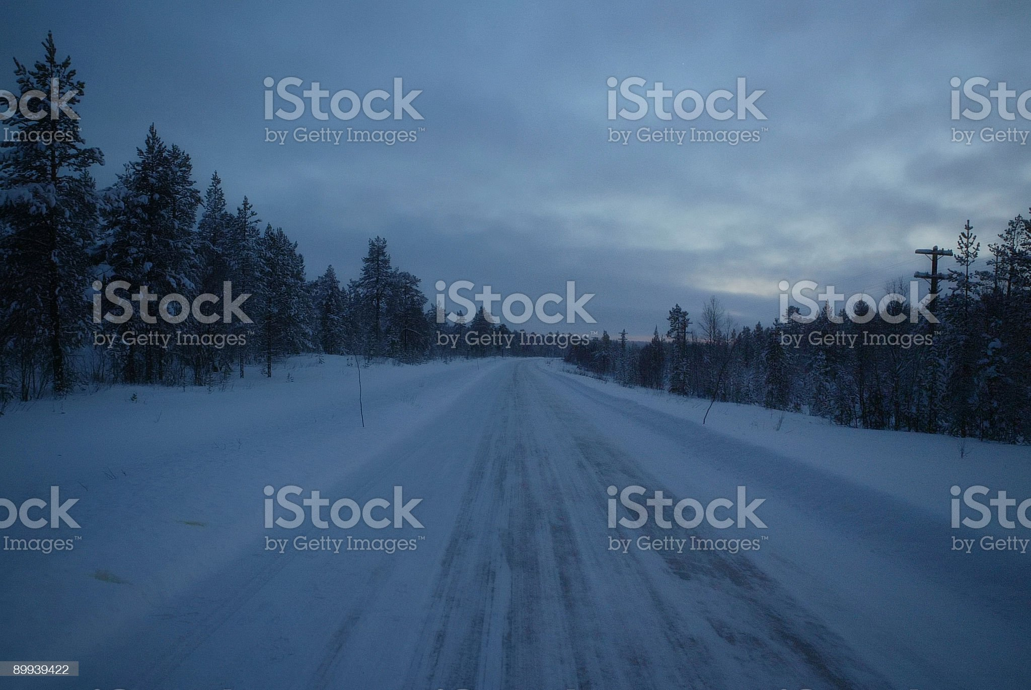 Lonely Winter Road Finland royalty-free stock photo
