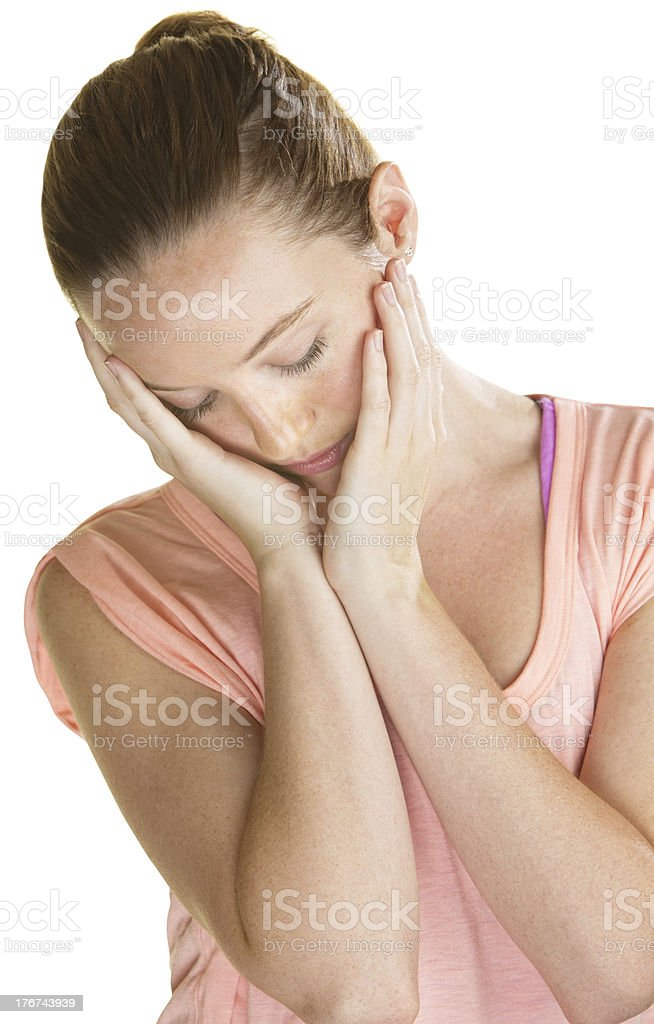 Lonely Woman Holding Face royalty-free stock photo