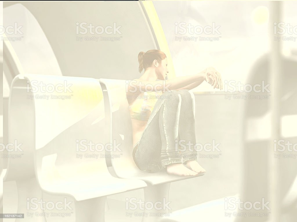 lonely woman in an empty train carriage royalty-free stock photo