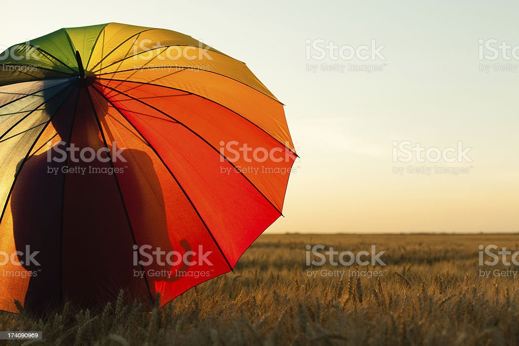 Lonely woman with umbrella in wheat field royalty-free stock photo
