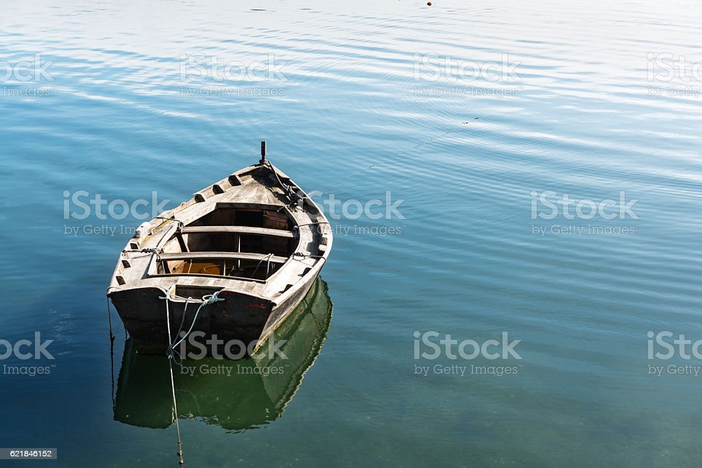 Lonely wooden boat drifting in the Rias Baixas stock photo
