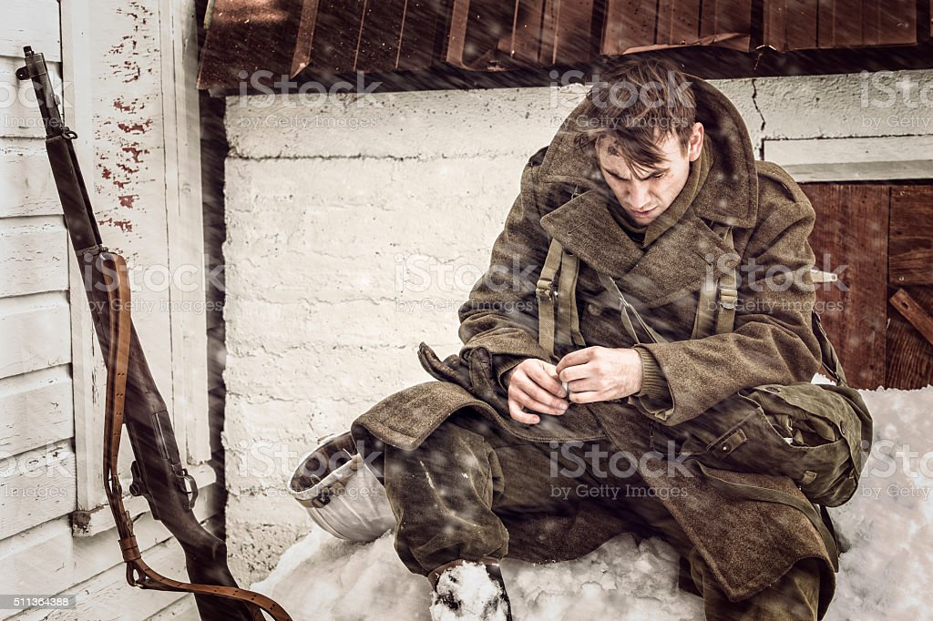 Lonely WWII US Soldier Longing for Home stock photo