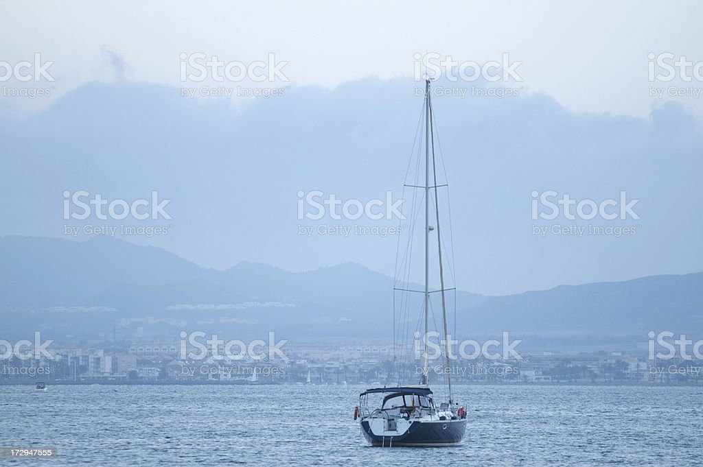 Lonely yacht stock photo