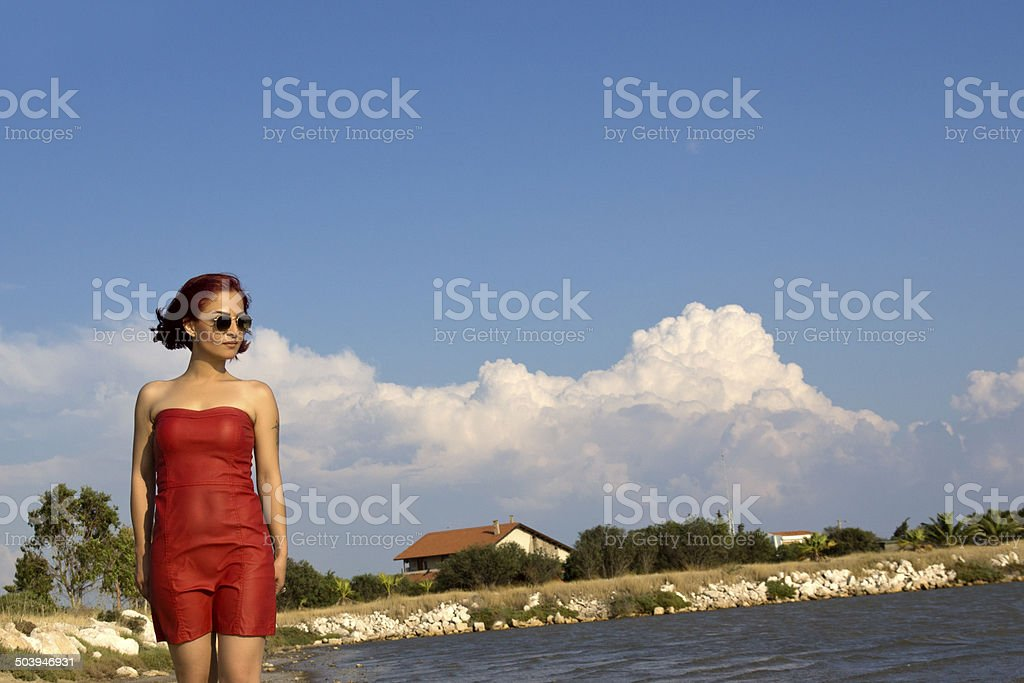 lonely young woman stock photo