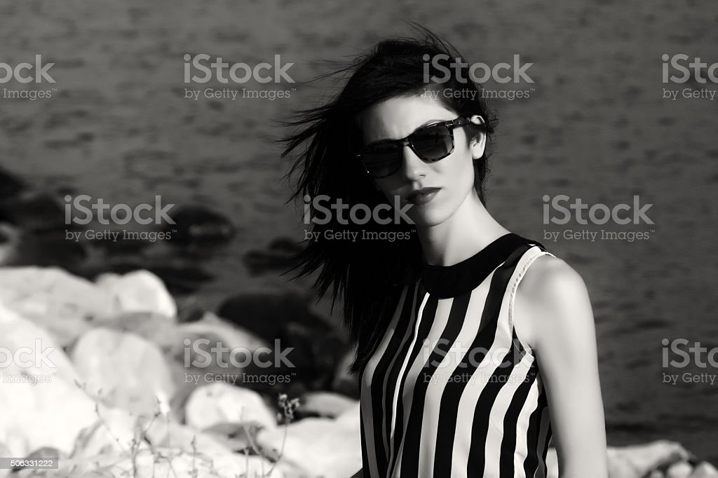 lonely young women stock photo
