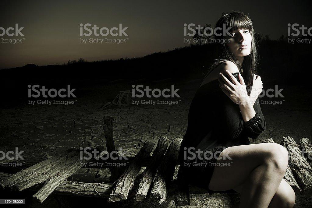 Lonesome fashion model stock photo