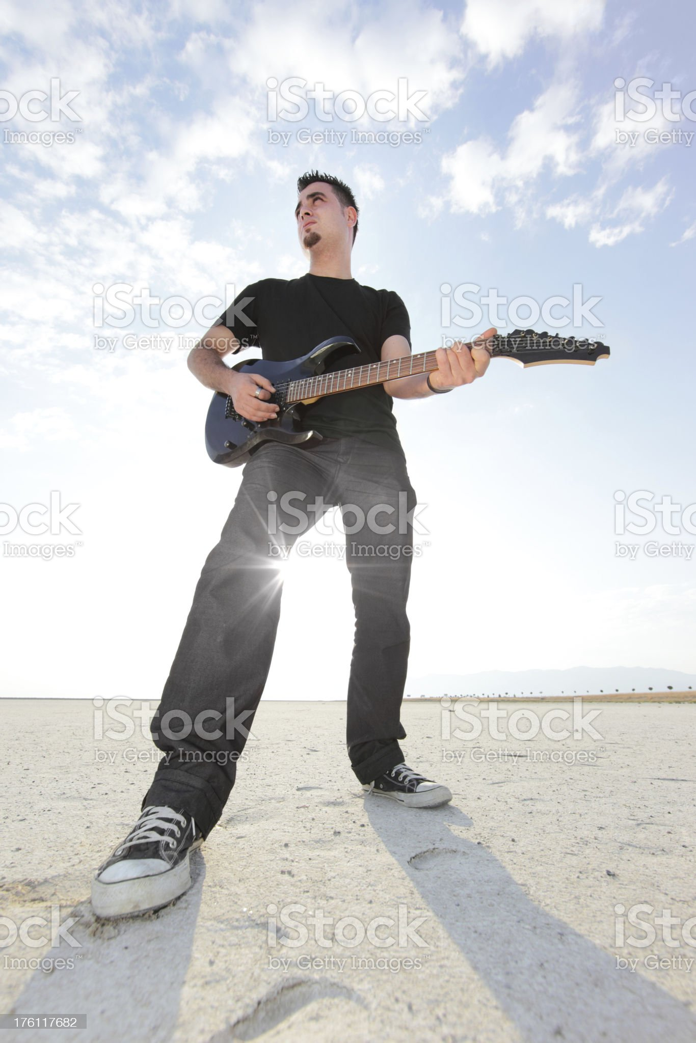 Lonesome Guitarist royalty-free stock photo