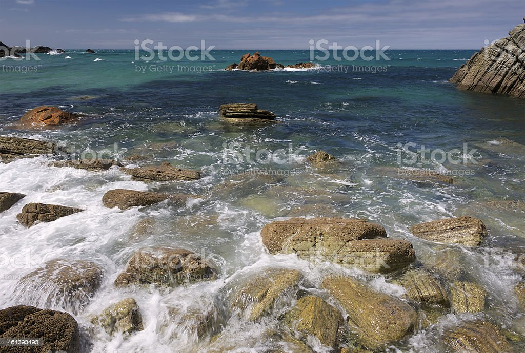 Lonesome Portuguese beach with clear water royalty-free stock photo