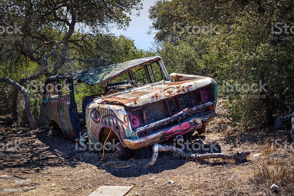 Long Abandoned Wrecked Car On Catalina Island, California royalty-free stock photo