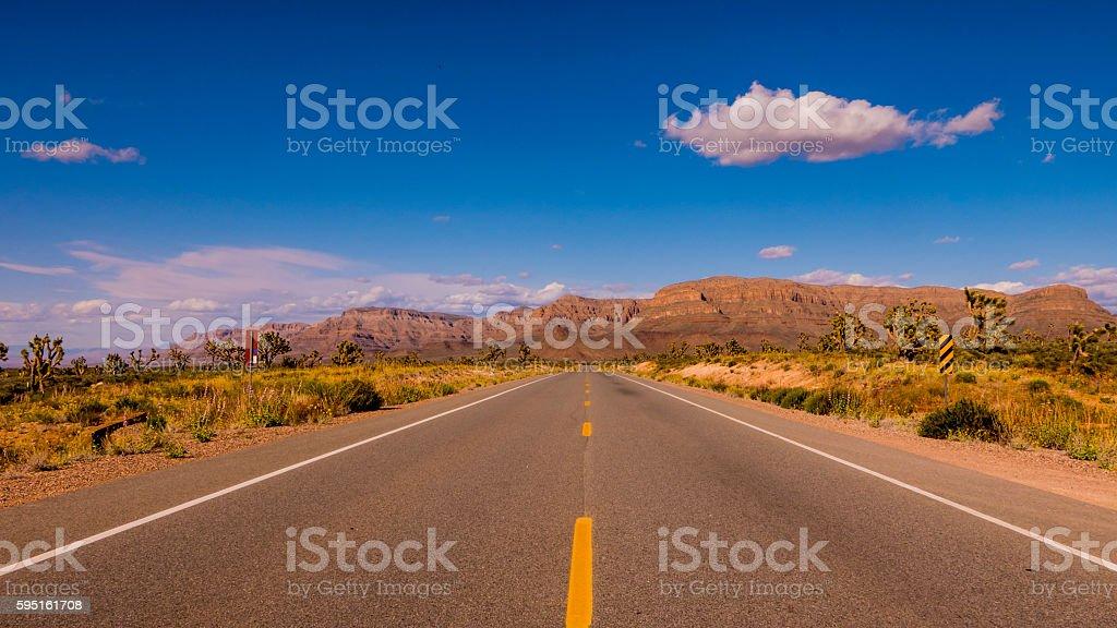 Long and empty lonesome road through Arizona Lizenzfreies stock-foto