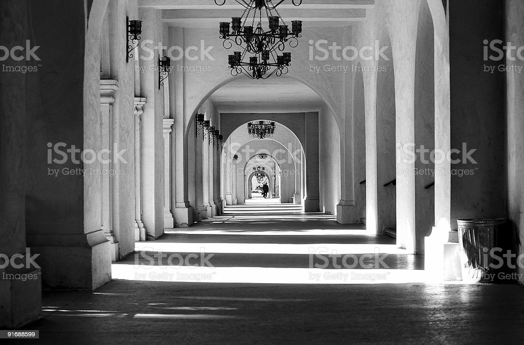 Long Arched Hallway of the Prado in Balboa Park stock photo