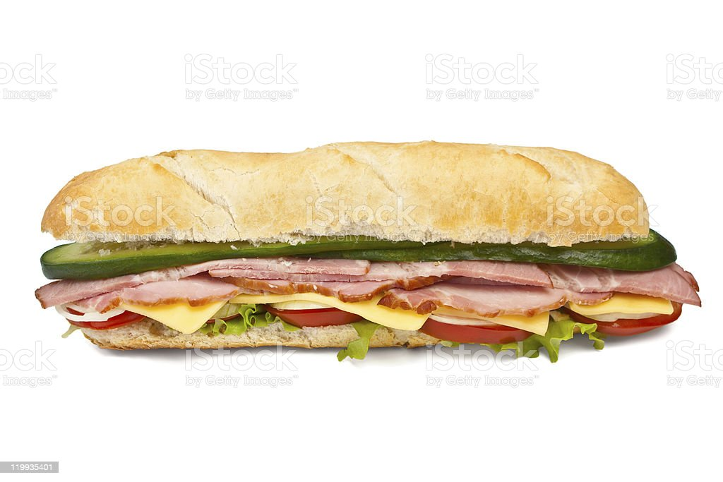long baguette sandwich stock photo