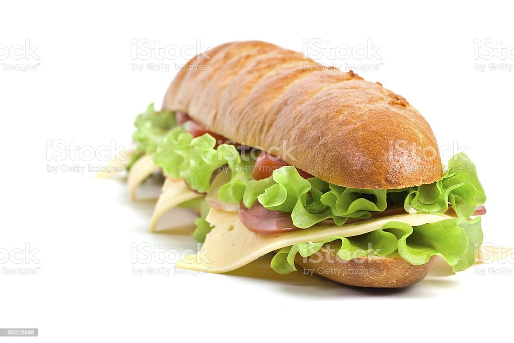 long baguette sandwich royalty-free stock photo