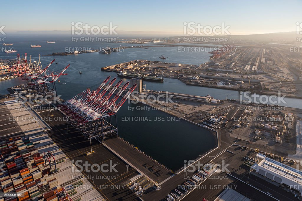 Long Beach and Los Angeles Harbors stock photo