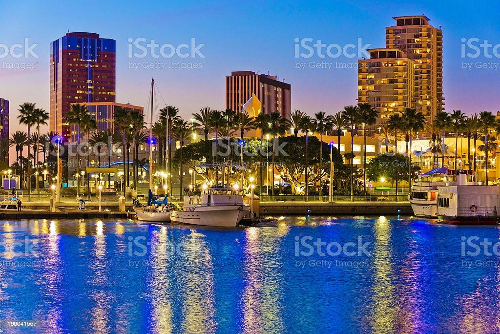 Long Beach California skyline, waterfront, marina stock photo