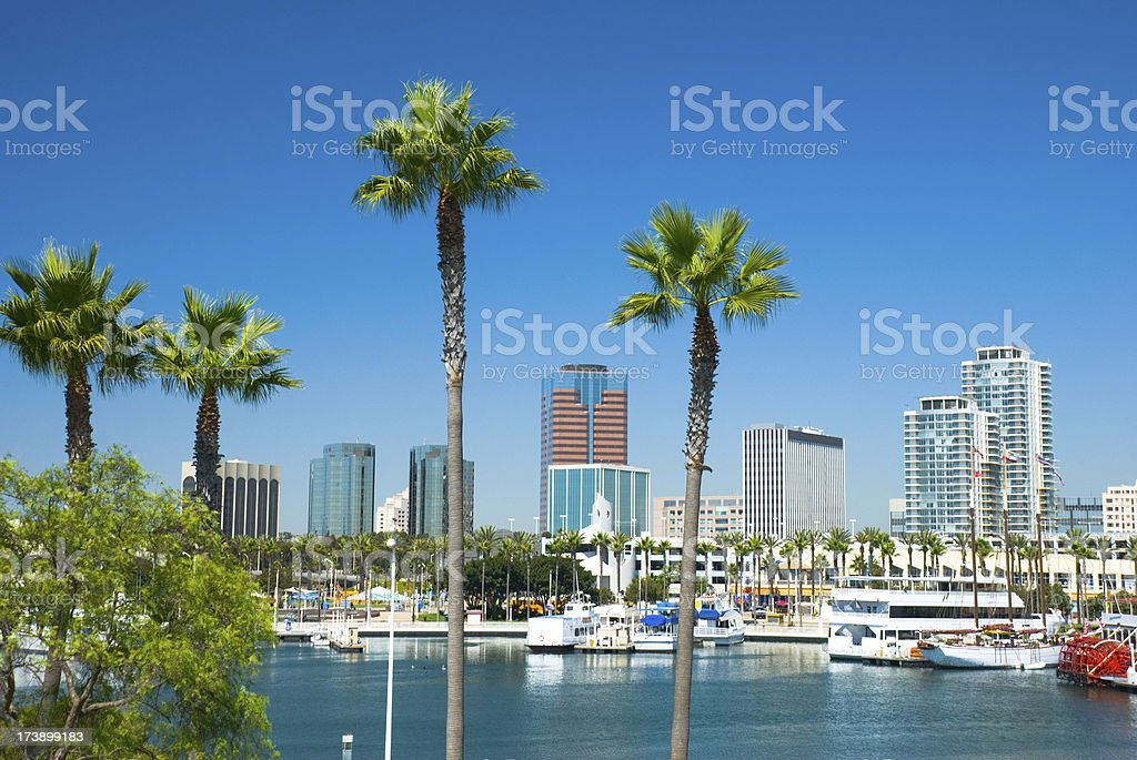 Long Beach downtown and Queensway Bay stock photo