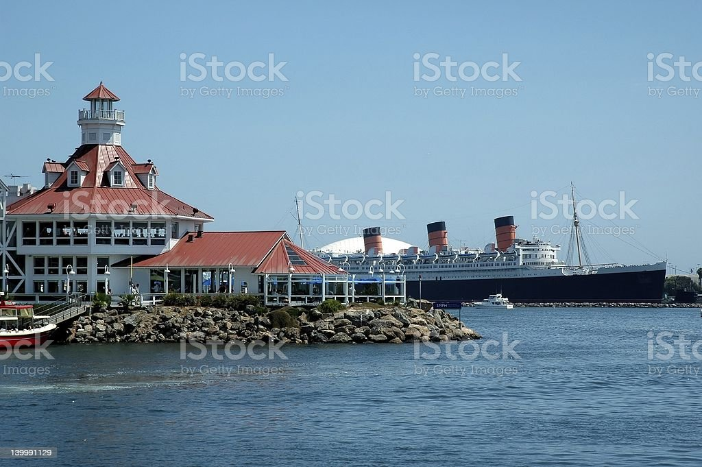 Long Beach Harbor and Boat stock photo