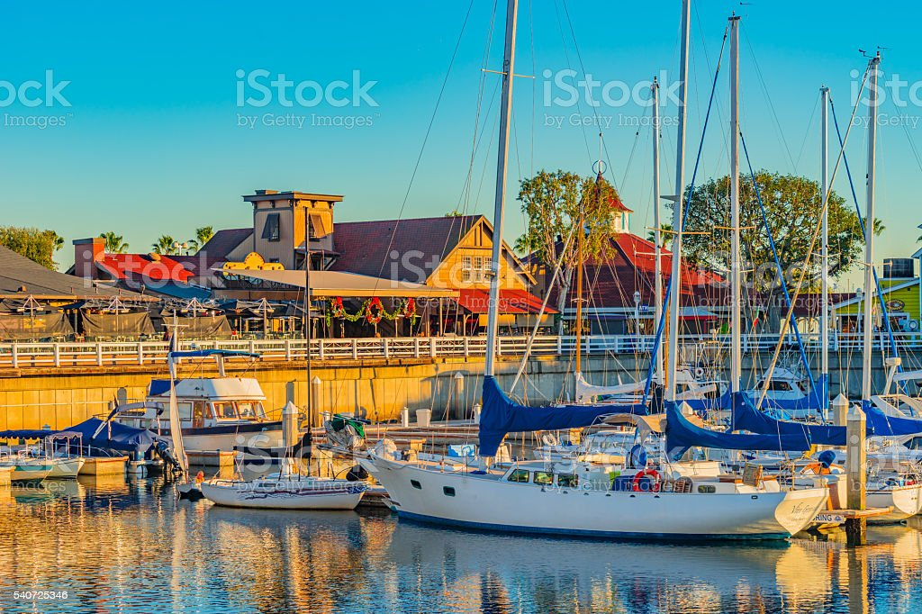 Long Beach harbor with recreational boats,spring,CA(P) stock photo