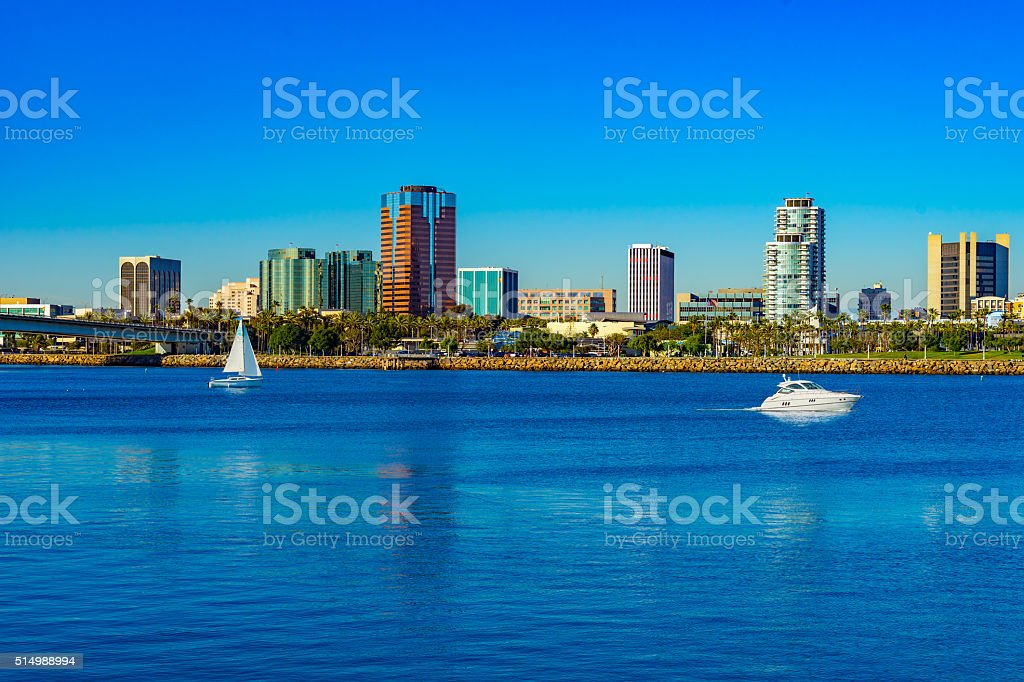 Long Beach Harbor with skyline and boats, CA(P) stock photo