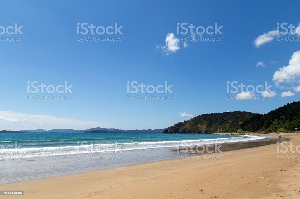Long Beach in Russell, New Zealand stock photo