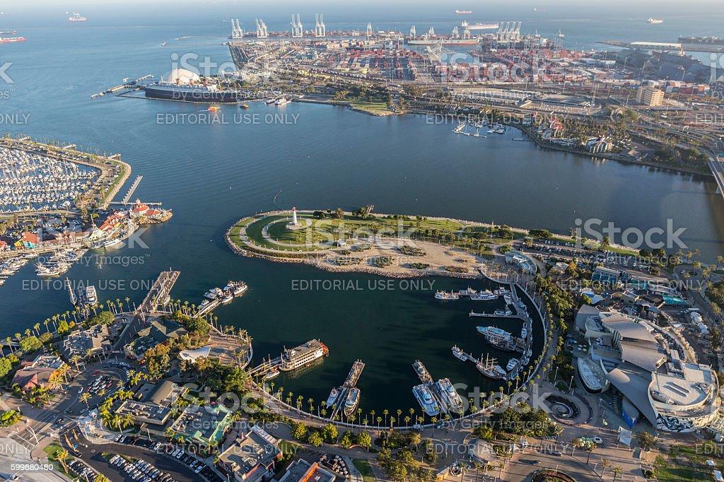 Long Beach Rainbow Harbor Aerial View stock photo