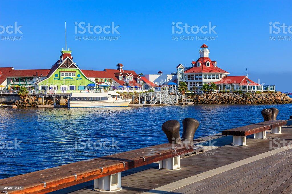 Long Beach Rainbow Harbor with Shoreline Park,dock,wharf, CA stock photo